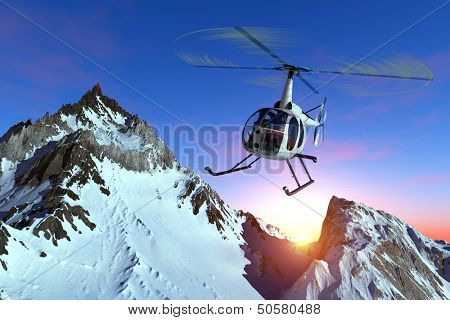 Civilian helicopter over the mountains.