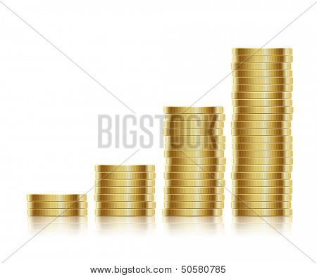 illustration. Many gold coins isolated on white background. Loose Change.