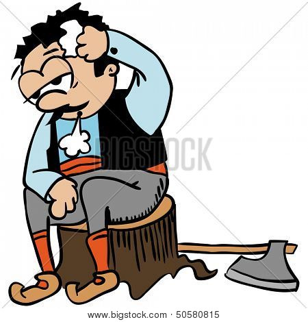 cartoon illustration of woodcutter sitting on a log isolated on white