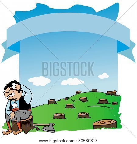 cartoon illustration of tired woodcutter sitting on a log