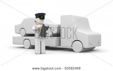 Police officer towing auto