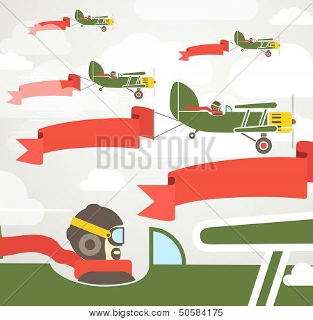 Flying vintage group of planes with banners. Template for a text