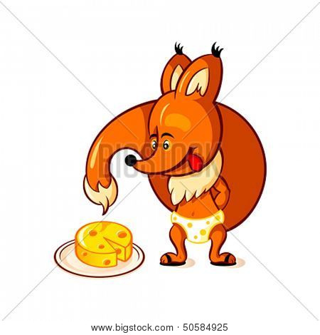 Little red fox adoring big piece of cheese
