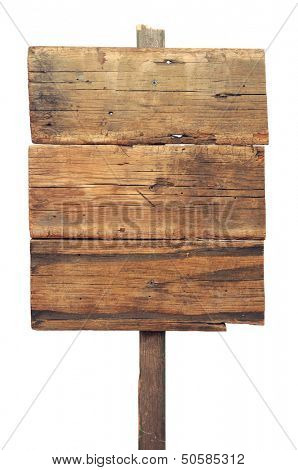 Wooden sign isolated on white. Wood old planks sign.