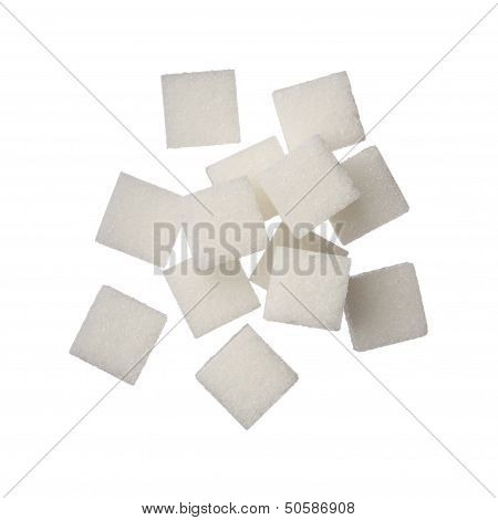 Sugar Cubes On White Background, Close Up