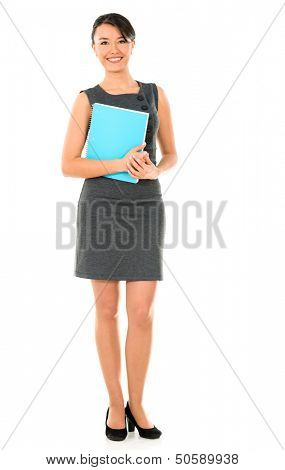 MBA female student smiling - isolated over a white background