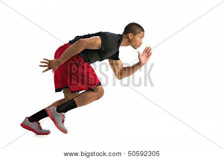 Young African American Athlete Sprinting Isolated on White Background