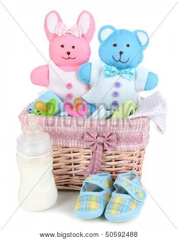Baby accessories isolated on white