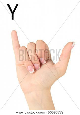 Finger Spelling the Alphabet in American Sign Language (ASL). Letter Y