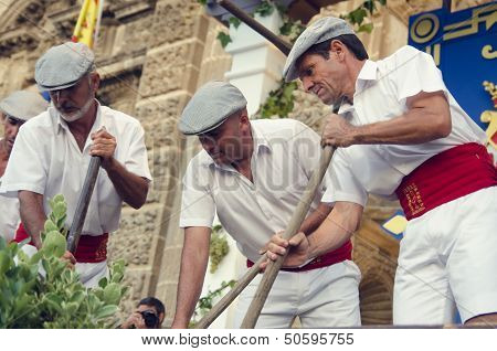 Jerez, Spain - September 10, 2013: Traditional Stomping Grapes In Sherry.