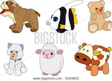 Dog, Fish, Bear, Cat, Sheep And Cow