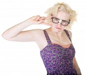 pic of dork  - Beautiful Caucasian female in damaged eyeglasses with peace sign - JPG