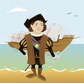 stock photo of christopher columbus  - a vector cartoon representing a funny Christopher Columbus just arrived in America - JPG