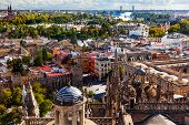 City View And Plaza Alcazar From Giralda Tower Seville Cathedral Spain