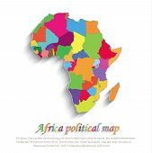 vector Africa political colors map paper 3D individual states puzzle