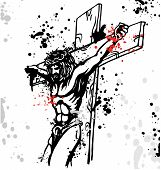 image of passion christ  - jesus  christ crucified with dripping vector project - JPG