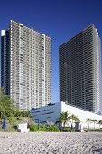 picture of beachfront  - Stock image of beachfront buildings in Hallandale Florida - JPG