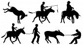 Set of editable vector silhouettes of donkeys and people in different situations with all figures as