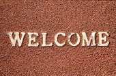 picture of flat-foot  - Welcome title on the doormat - JPG