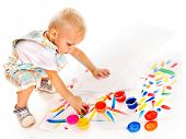 image of finger-painting  - Little boy painting by finger paint - JPG