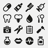 stock photo of toothpaste  - Dental icons set - JPG