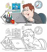 stock photo of clip-art staff  - Clerk talking on the phone and working with his laptop in office - JPG