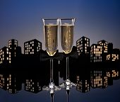 stock photo of same sex  - Metropolis champagne glasses with conceptual same sex decoration for gay men - JPG