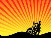 Постер, плакат: Мотоцикл гонщик силуэт вектор
