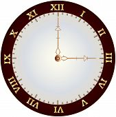 picture of roman numerals  - A Vintage Clockface with gold roman numerals and ornate hands - JPG