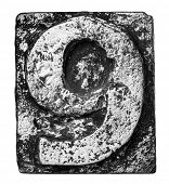 pic of alloy  - Metal alloy alphabet number 9 - JPG