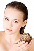 foto of jericho  - Beautiful spa woman holding Rose of Jericho - JPG