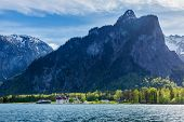 Travel Germany concept background - Koningsee lake and St. Bartholomew's Church in Bavarian Alps, Be