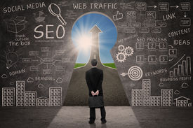 picture of keyholes  - Businessman looking through keyhole with success road with SEO business doodle on blackboard  - JPG