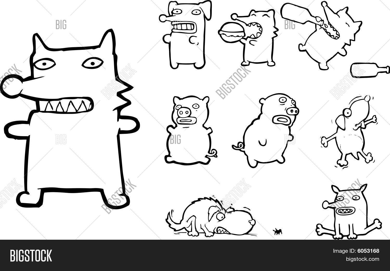 Vector y foto Dibujo Lineal De Animales  Bigstock