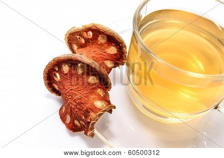 A Cup Of Hot Bael Fruit Juice On White Background