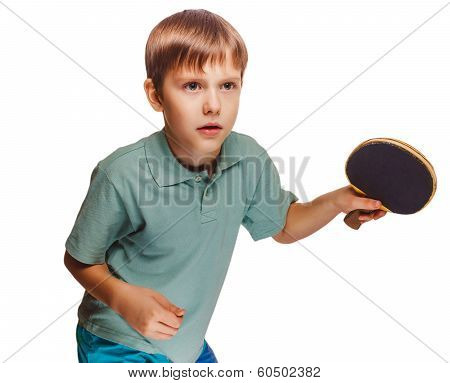 boy man playing table tennis forehand takes
