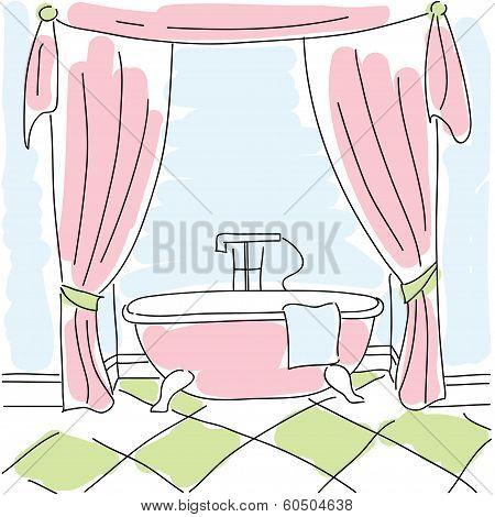 Beautiful Pink Bath Against A Blue Background