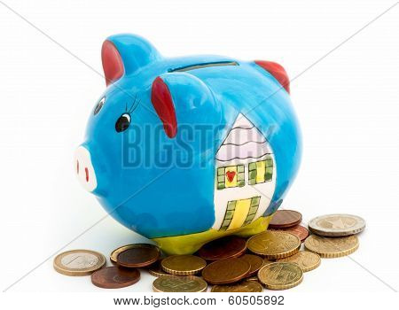 Porcelain Piggy Bank With Coins