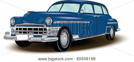 retro car blue