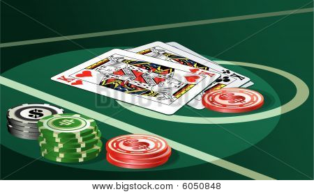 Casino table with chips and cards