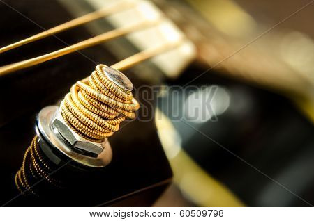 Close Up Detail Of Guitar String