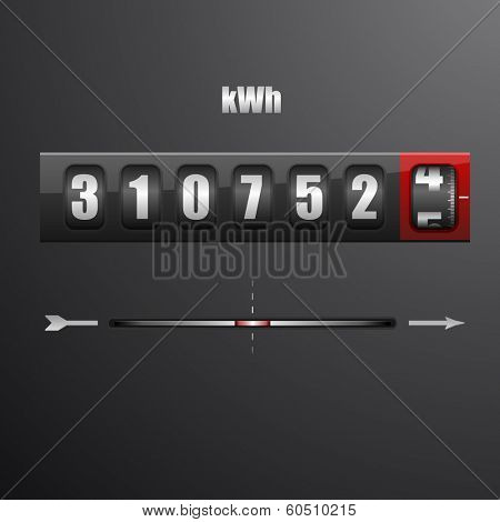 detailed illustration of an electric meter, eps10 vector