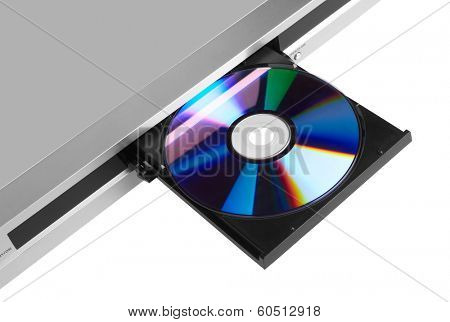 DVD player ejecting disc isolated on white background