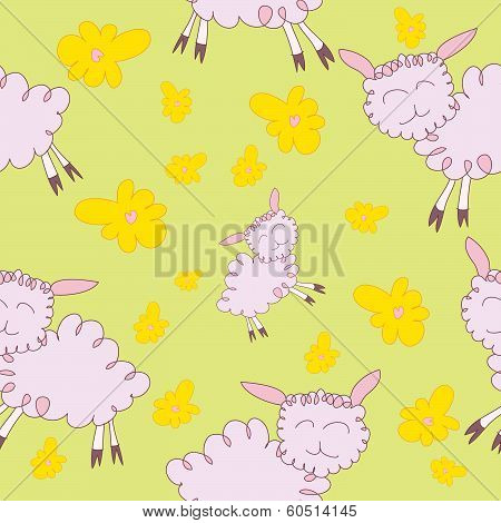 Seamless Pattern With Cartoony Sheeps
