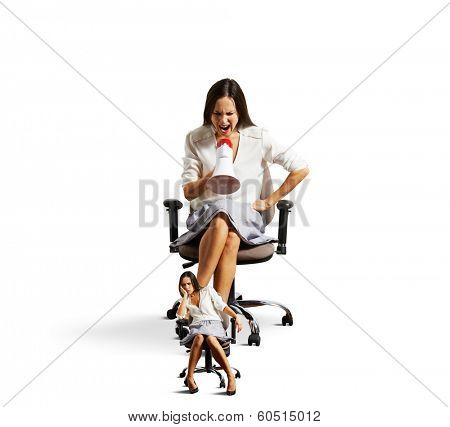 emotional businesswoman screaming at small tired woman. isolated on white background