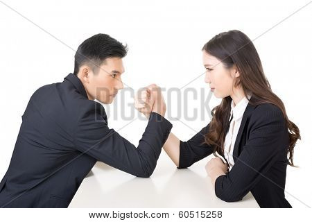 Arm wrestling challenge between a young business man and woman, closeup portrait on white background.