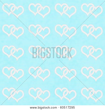 White Interwoven Hearts And Teal Thin Stripes Horizontal Textured Fabric Background