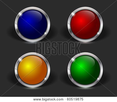 Vector web buttons with metallic border