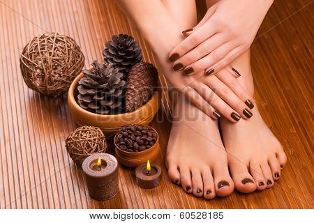 beautiful brown manicure and pedicure on the broun