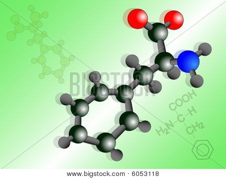 Phenylalanine Molecule Illustration